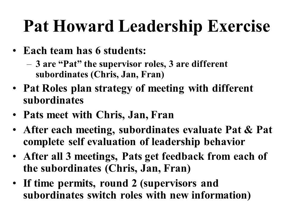 Pat Howard Leadership Exercise