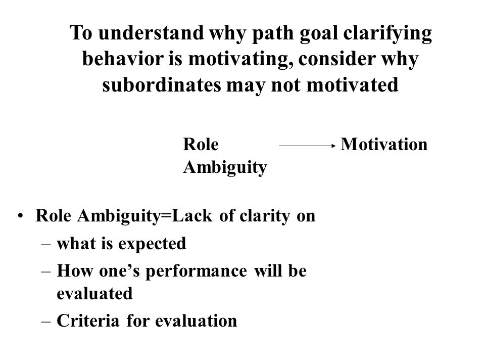 To understand why path goal clarifying behavior is motivating, consider why subordinates may not motivated