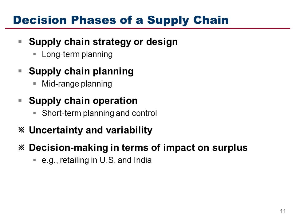 decision phases in a supply chain A strategic decision framework for green supply in the introductory phases for the case of greening the supply chain, the decision is strategic and will.