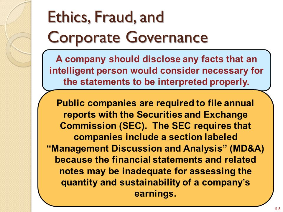 Ethics, Fraud, and Corporate Governance