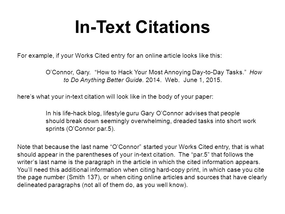 How to cite text within an essay