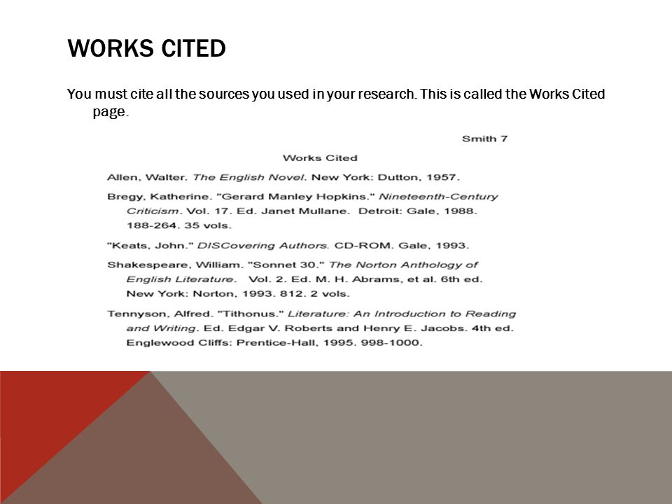 term paper work cited page Term paper: format of citations and references 1 that we want you to cite your references in the term paper for this the title of the work cited.