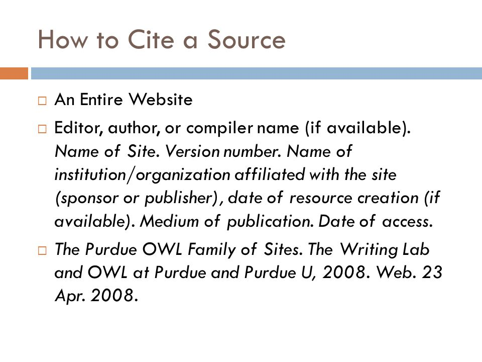 how to write a bibliography for a website purdue owl