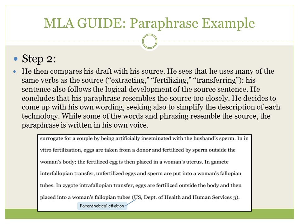 paraphrasing essay mla Paraphrasing mla vs apa: key verbs you can't miss writing in the apa or mla style, you should not miss the key verbs often used in any of these academic assignments and you have to be very attentive when it comes to writing styles since paraphrasing tool can't do this all for you.