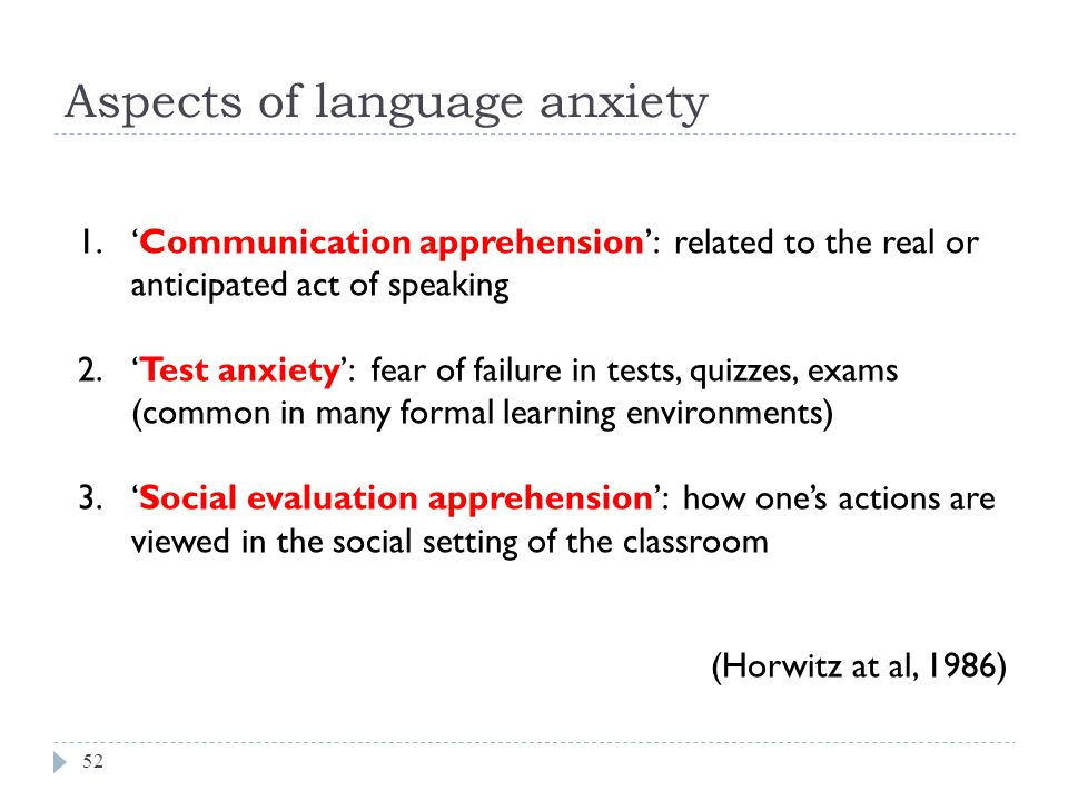 the effects of anxiety on language Anxiety will have the strongest effect directly after the introduction of the camera hoff, e (2005) language experience and language milestones during early childhood in k mccartney & d phillips (eds) blackwell handbook of early childhood developmen t: blackwell publishing, blackwell reference.