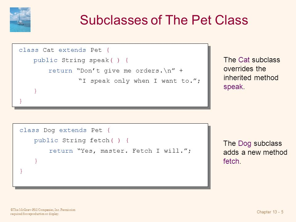 Subclasses of The Pet Class
