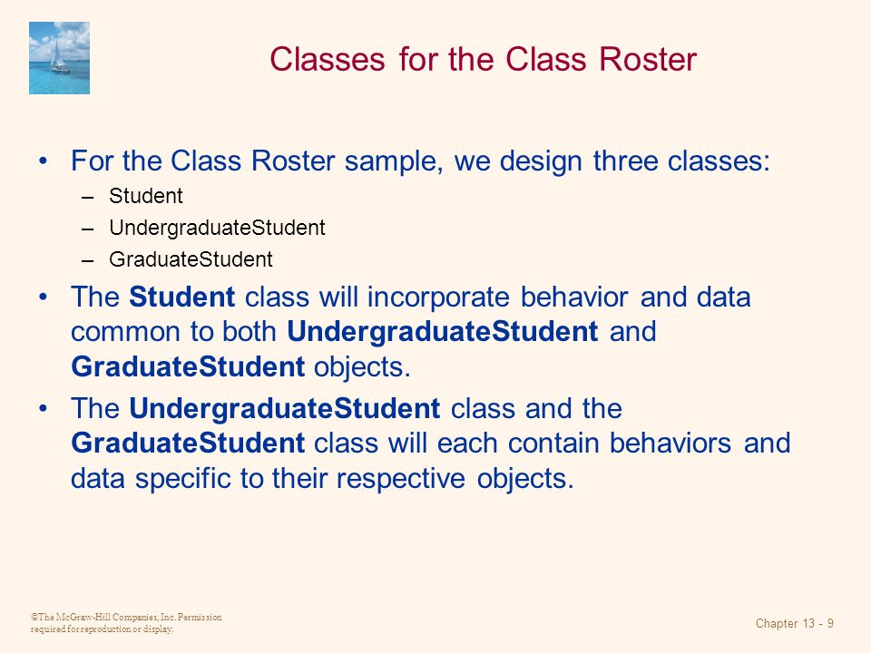 Classes for the Class Roster
