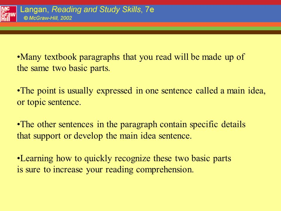 Many textbook paragraphs that you read will be made up of