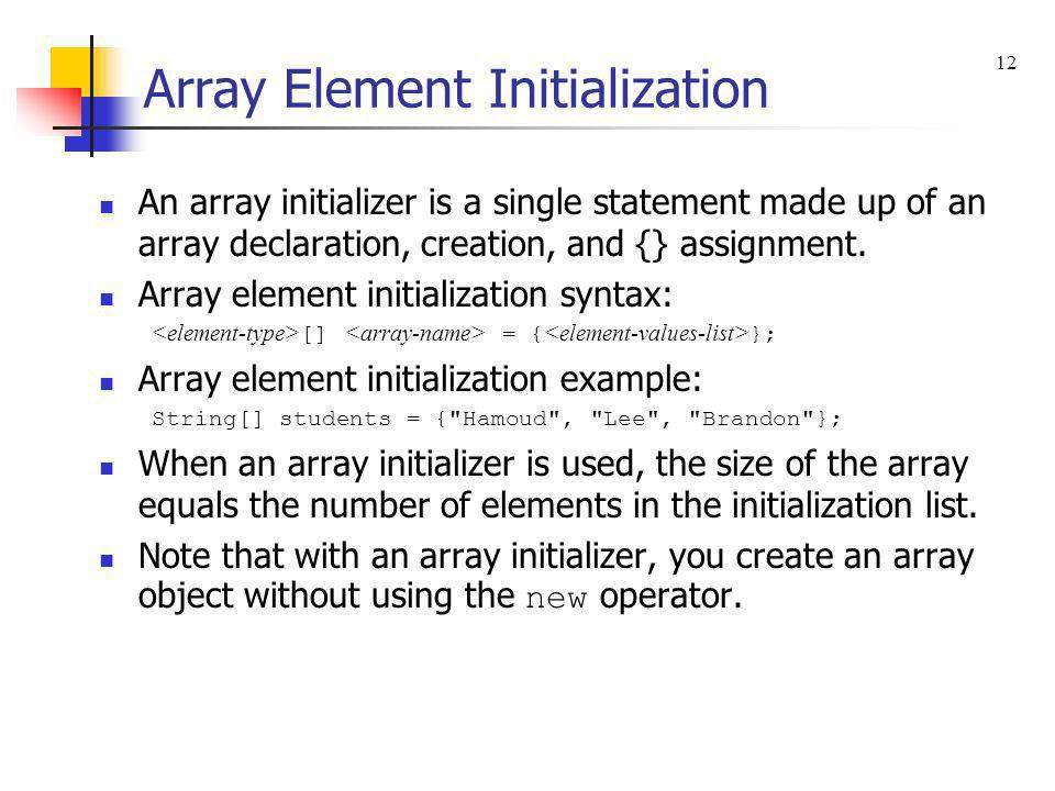 Array Element Initialization