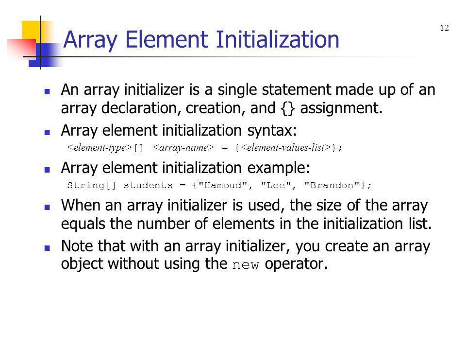 Array Element Initialization