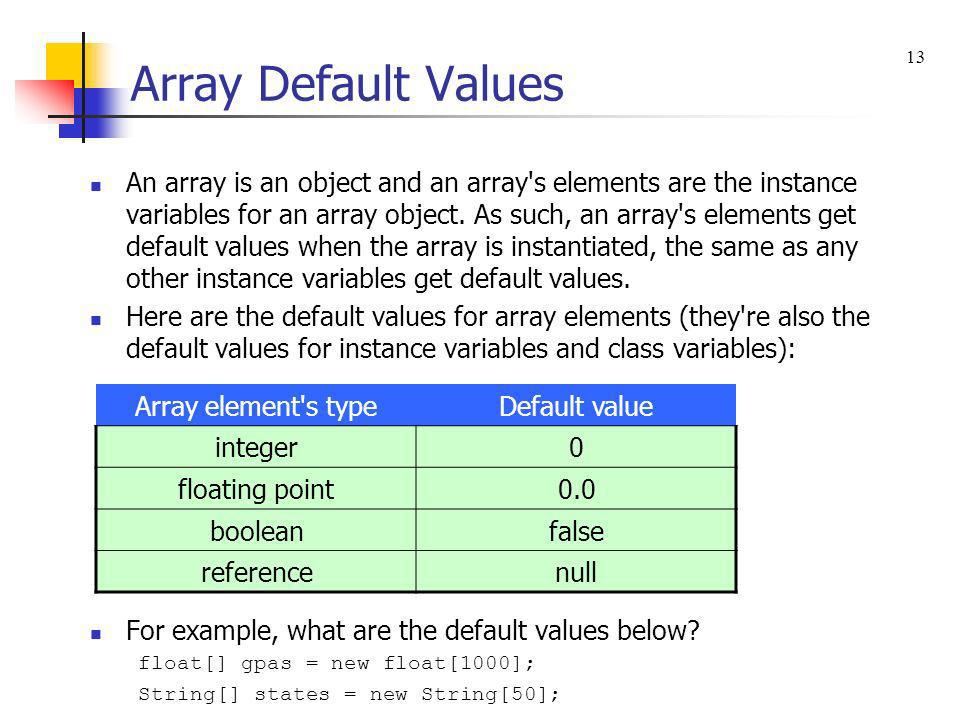Array Default Values 13.