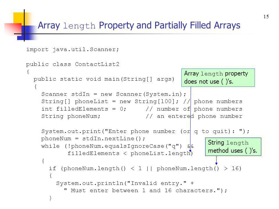 Array length Property and Partially Filled Arrays