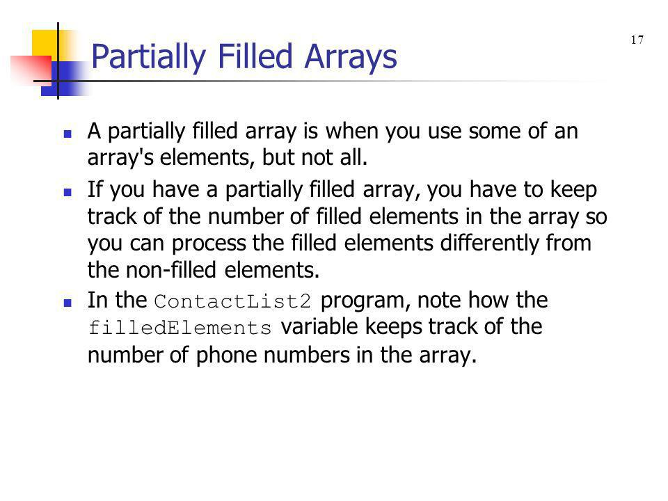 Partially Filled Arrays