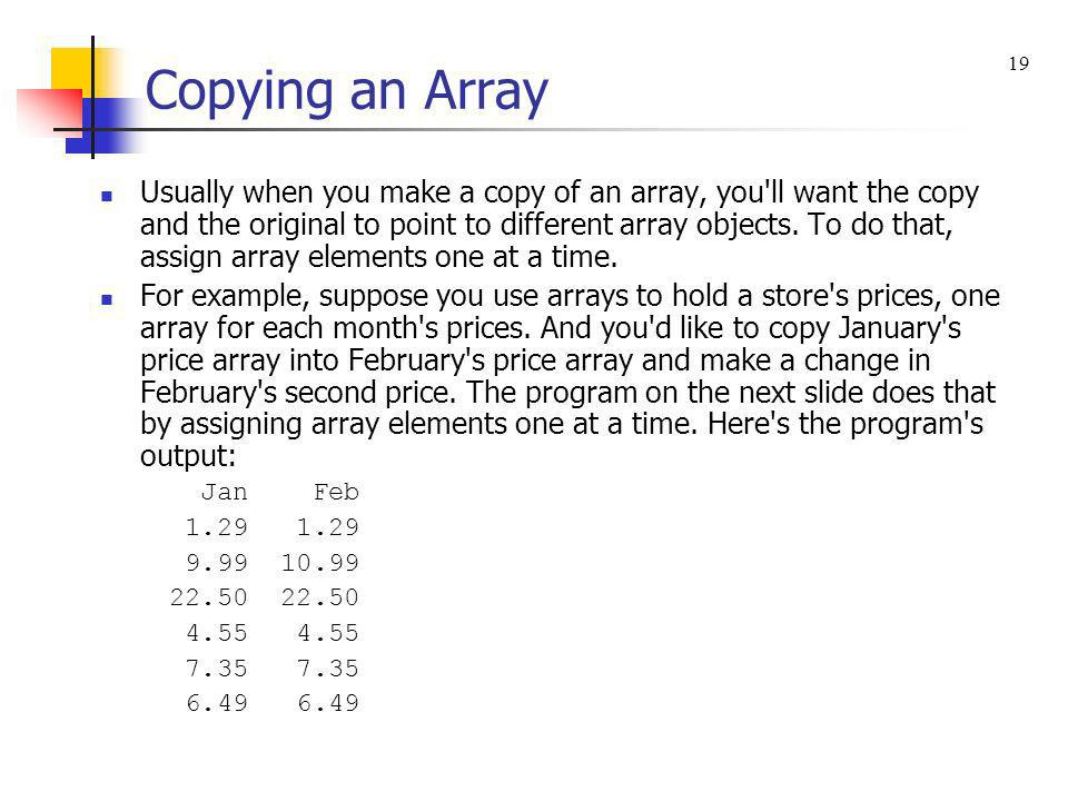 Copying an Array 19.