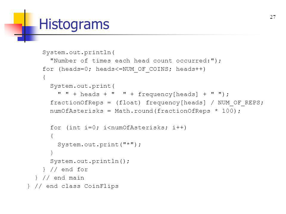 Histograms System.out.println(