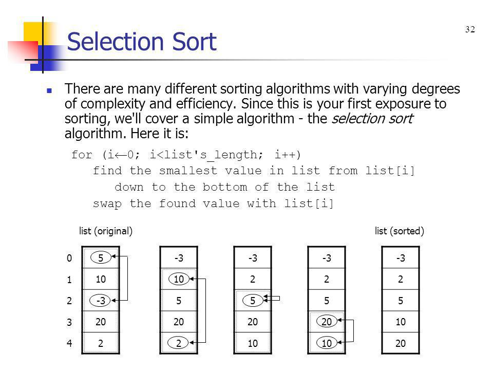 Selection Sort 32.