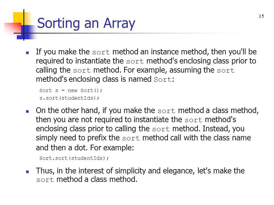 Sorting an Array 35.