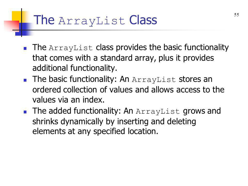 The ArrayList Class 55.