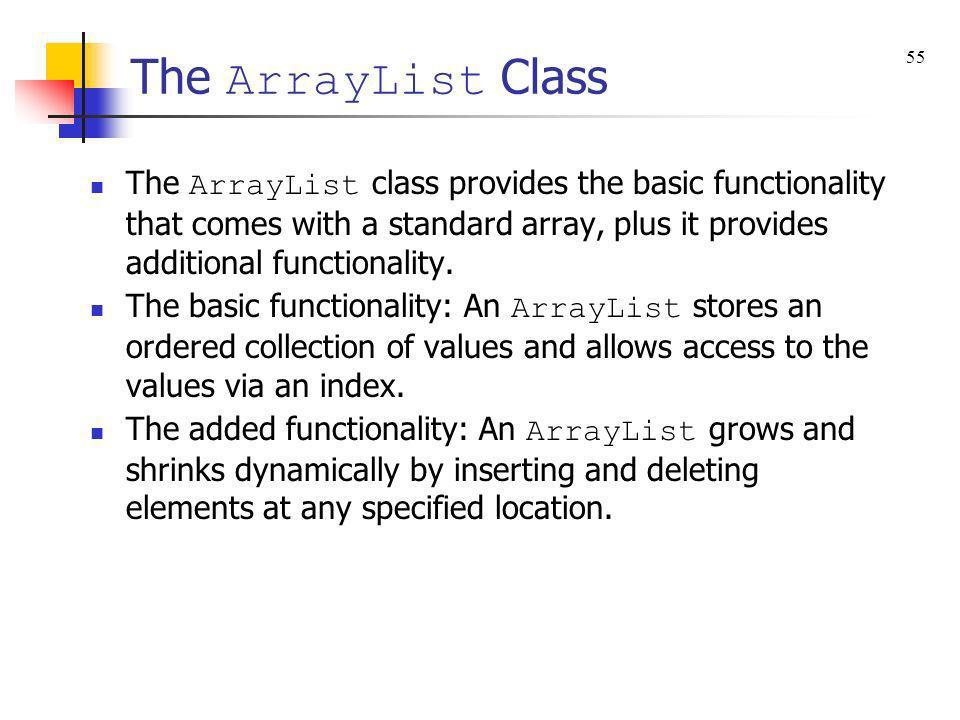 The ArrayList Class 55.