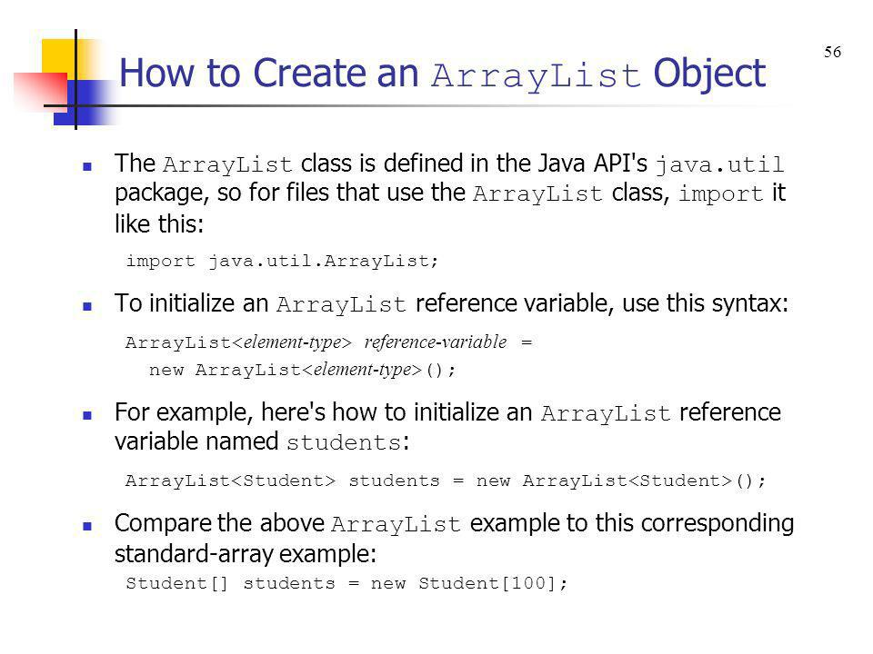How to Create an ArrayList Object