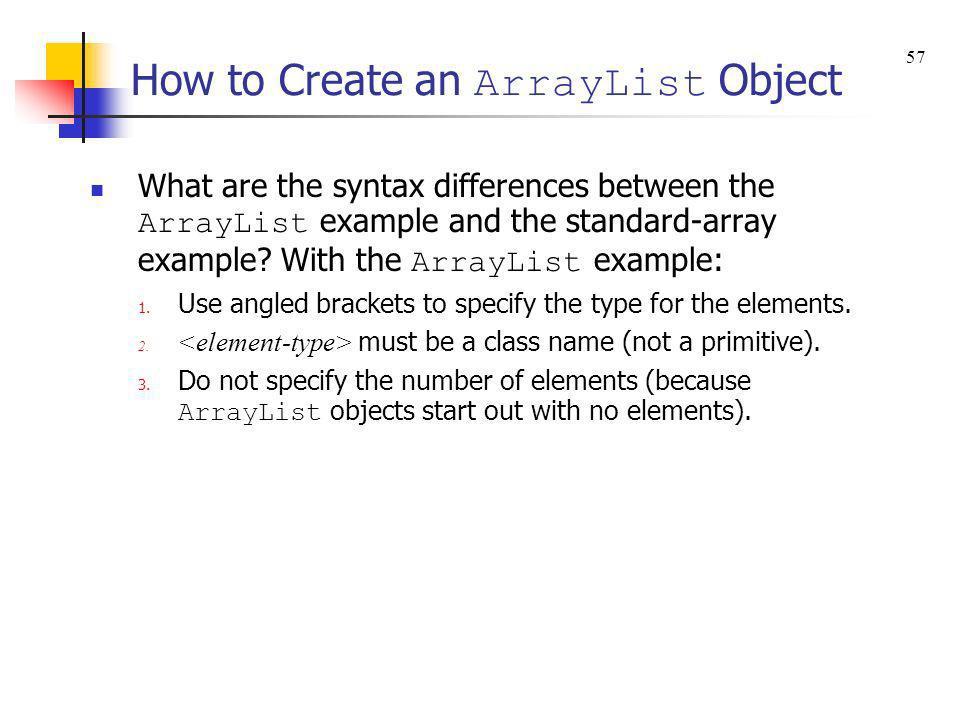 How to Create an ArrayList Object