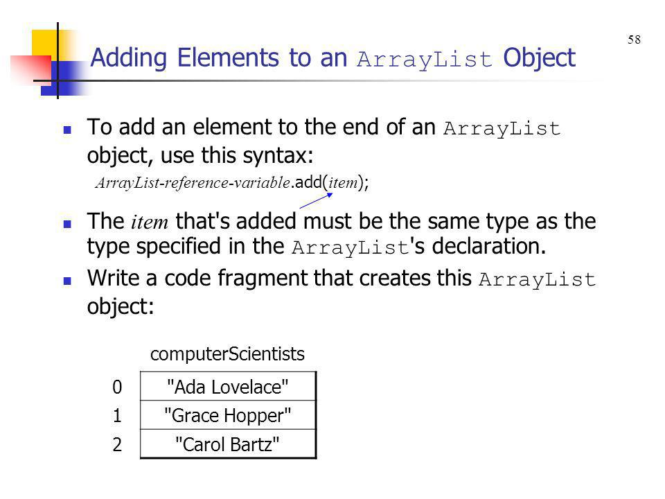 Adding Elements to an ArrayList Object