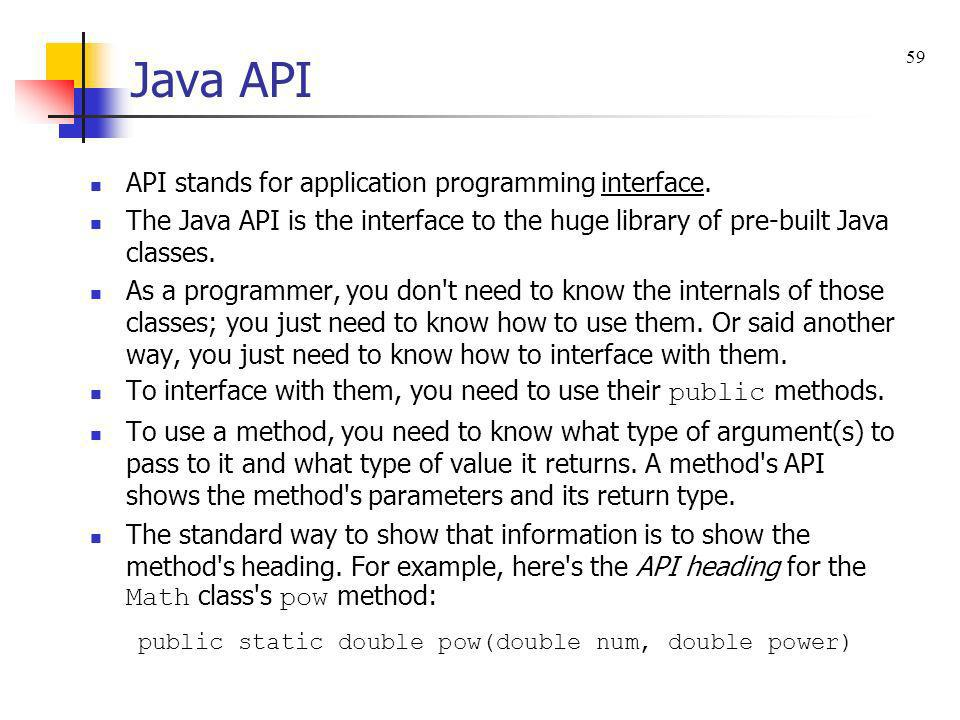 Java API API stands for application programming interface.