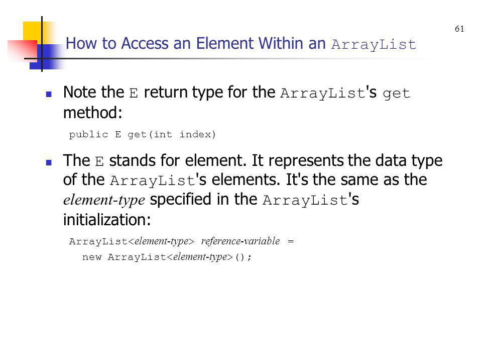 How to Access an Element Within an ArrayList