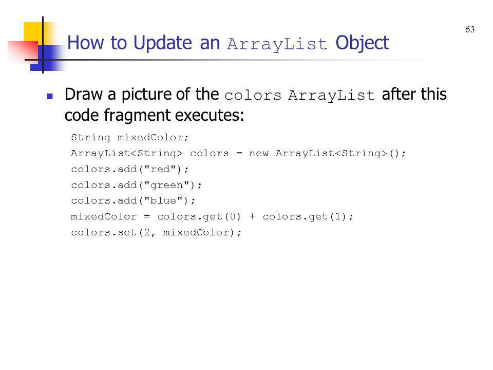 How to Update an ArrayList Object