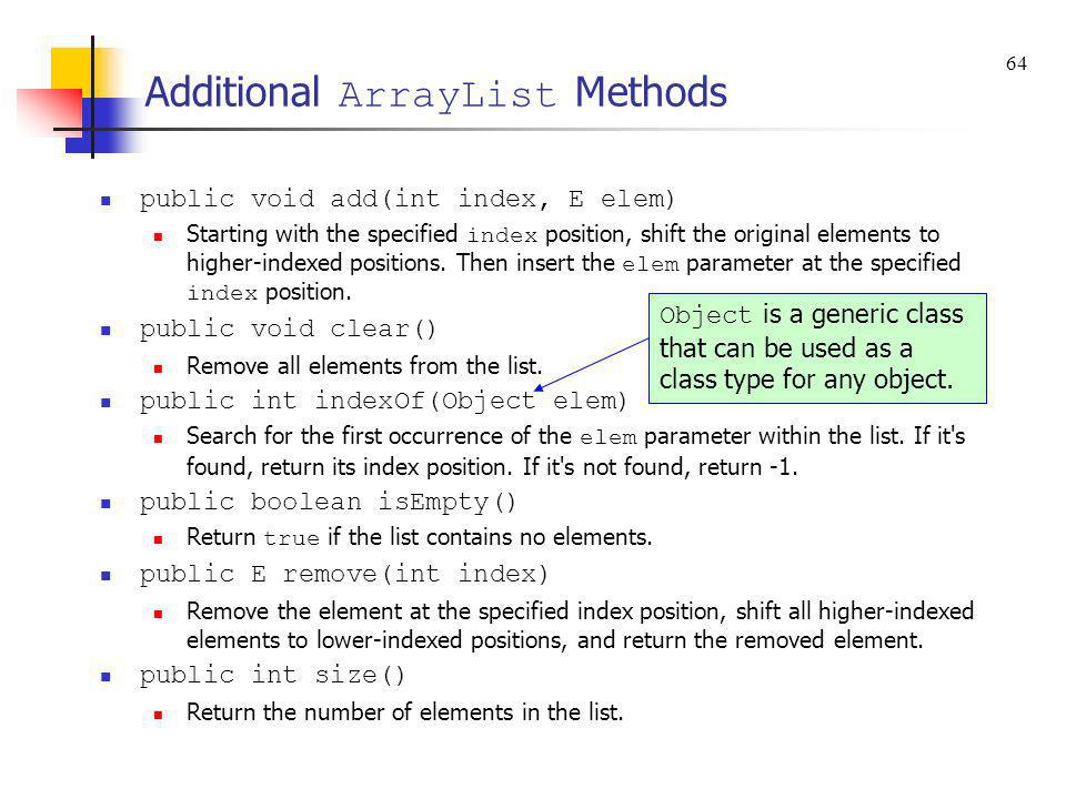 Additional ArrayList Methods