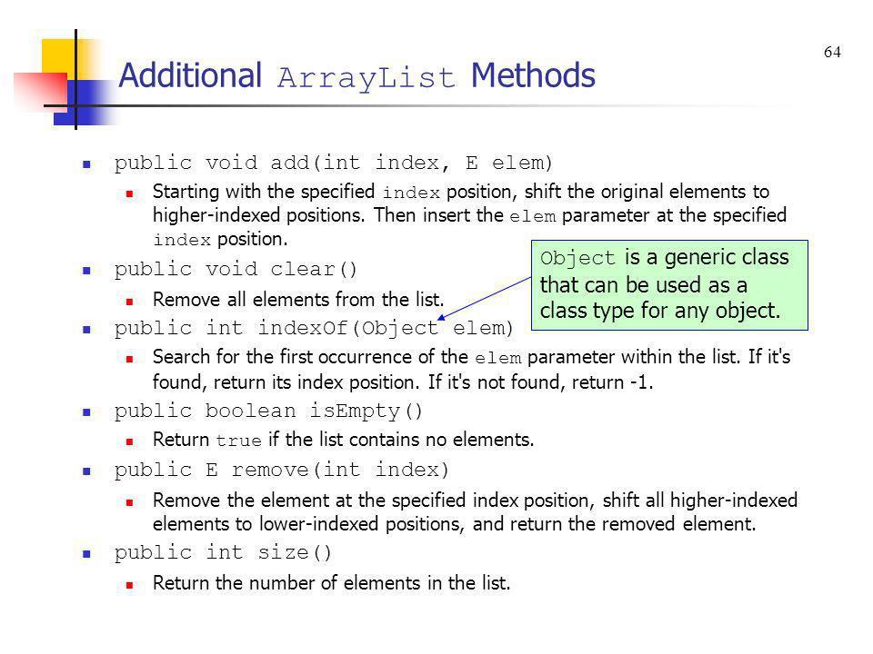 Additional ArrayList Methods