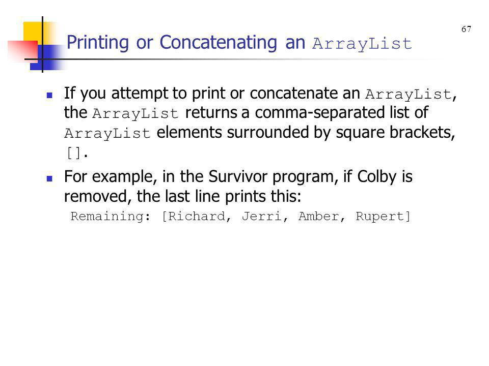 Printing or Concatenating an ArrayList