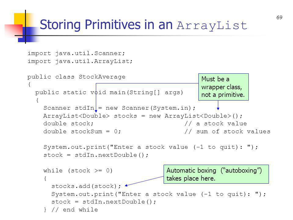 Storing Primitives in an ArrayList