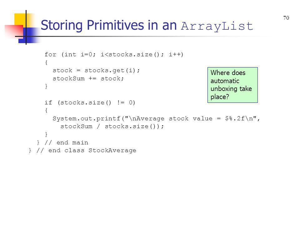 Storing Primitives in an ArrayList
