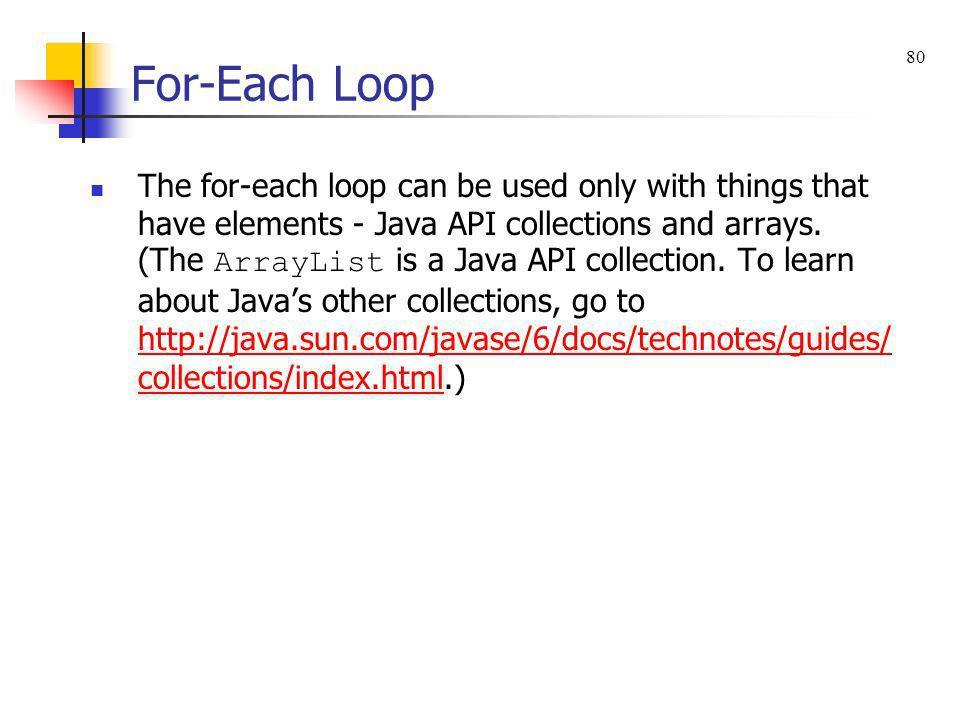 For-Each Loop 80.