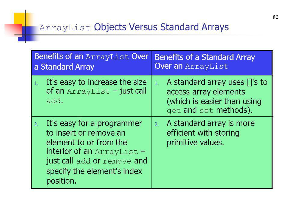 ArrayList Objects Versus Standard Arrays