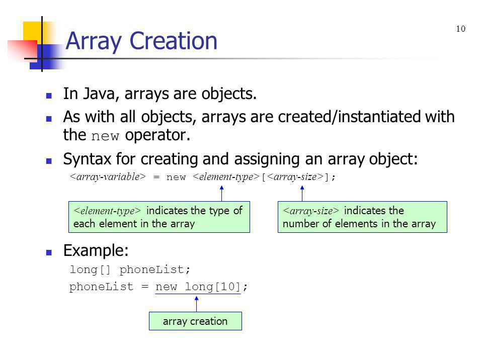 Array Creation In Java, arrays are objects.