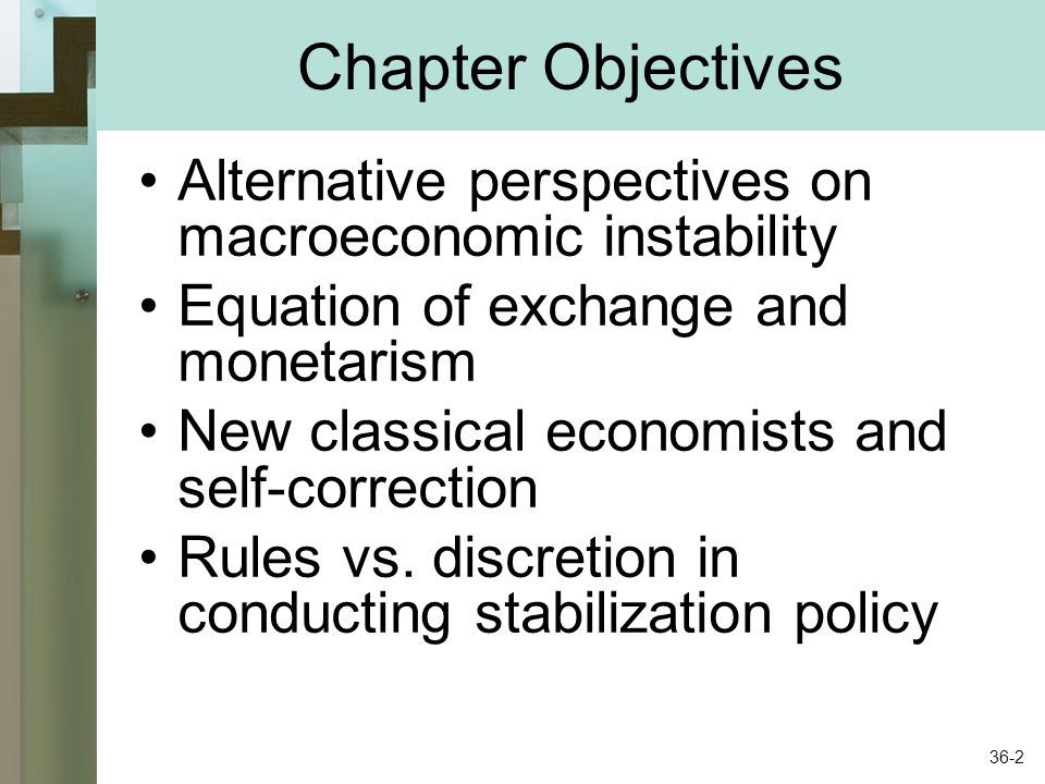 Chapter Objectives Alternative perspectives on macroeconomic instability. Equation of exchange and monetarism.