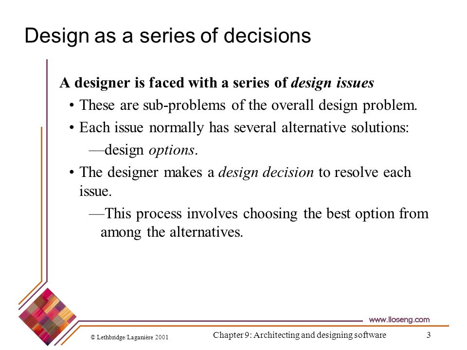 Design as a series of decisions