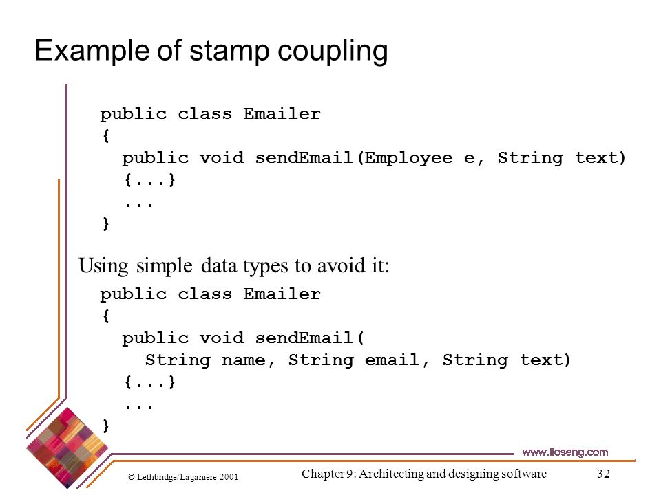 Example of stamp coupling