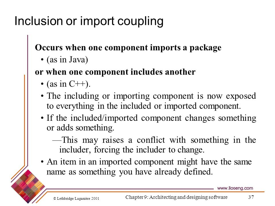 Inclusion or import coupling