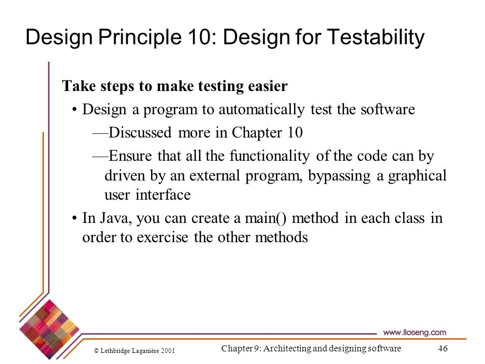 Design Principle 10: Design for Testability