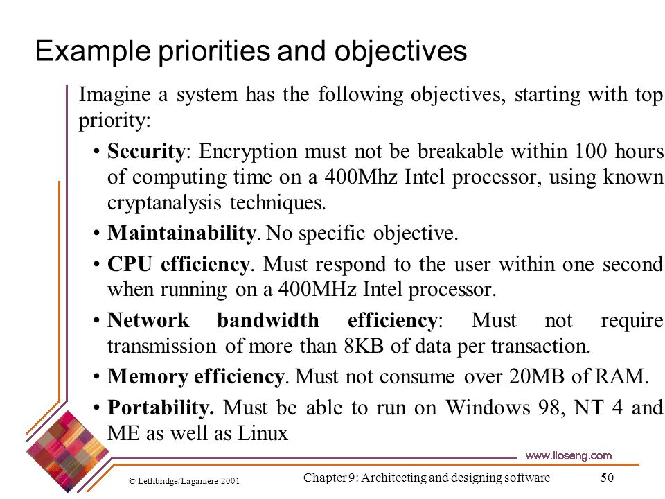 Example priorities and objectives