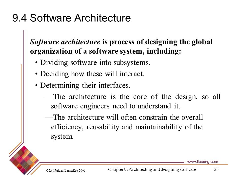 9.4 Software Architecture