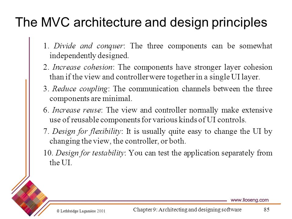 The MVC architecture and design principles