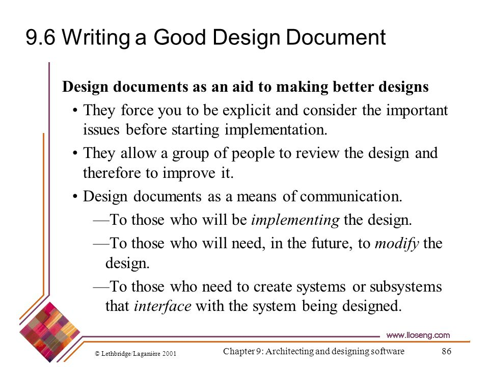 9.6 Writing a Good Design Document