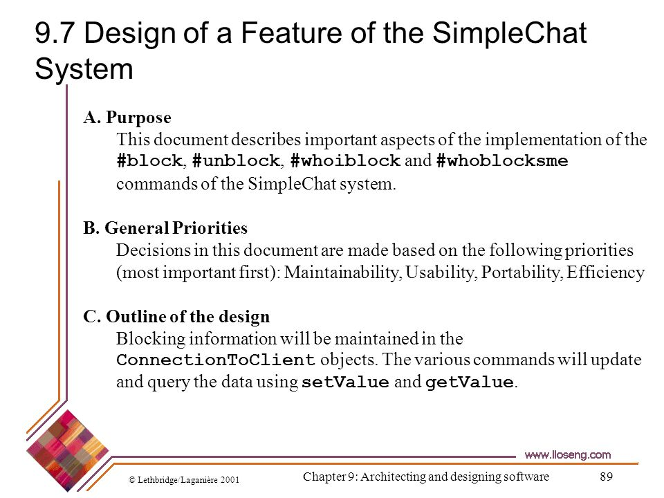 9.7 Design of a Feature of the SimpleChat System