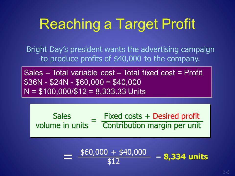 Reaching a Target Profit
