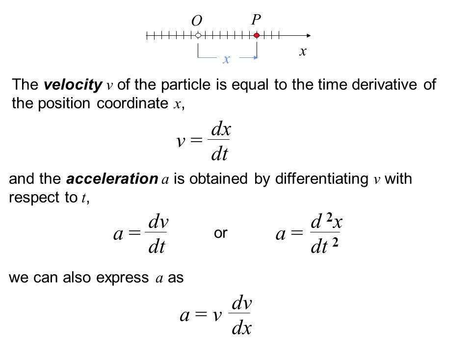 dx dt v = dv dt d 2x dt 2 a = a = dv dx a = v O P x x