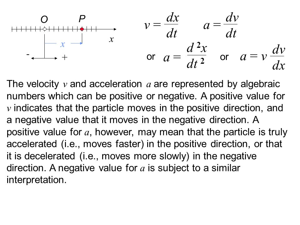 dx dt dv dt v = a = d 2x dt 2 dv dx a = v a = O P x x - or + or